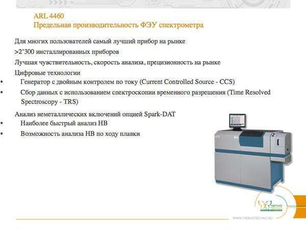 ARL 4460. Предельная производительность ФЭУ спектрометра