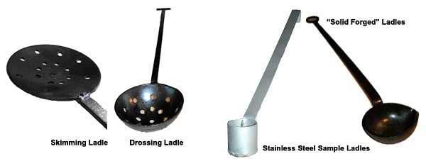 Рис. 2: Скребок и ковш для снятия шлака; ручные кованые и из нержавейки ковши